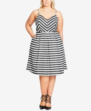 City Chic Trendy Plus Size Striped Fit & Flare Dress - Ivory/Cream