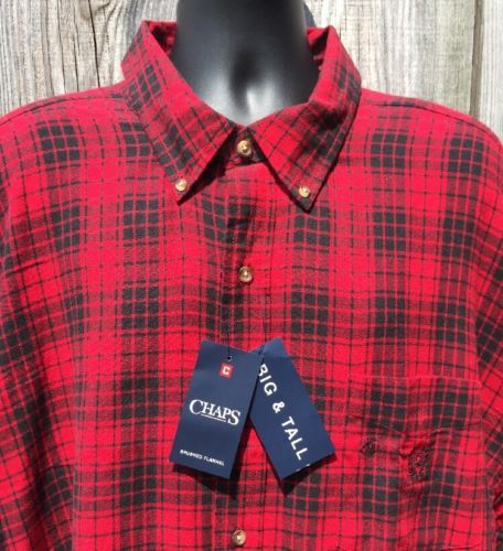 591e00bc1d00 Mens 4XB 4XL Flannel Shirt Chaps Plaid Red Black Button Down New Tags