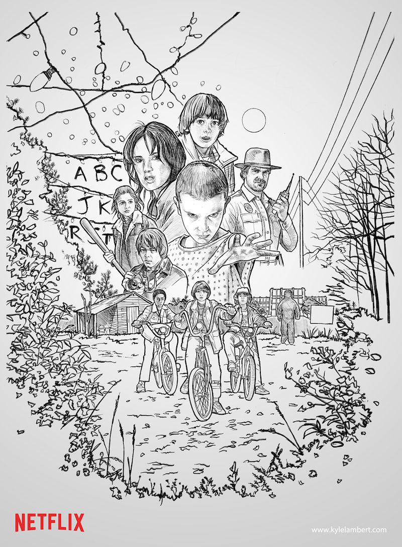 Original Stranger Things poster drawn by artist Kyle Lambert on an ...