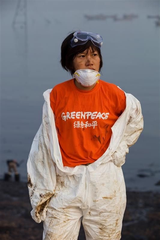 Clean-up of Oil Spill in DalianGreenpeace activists help with the clean up of oil which from spill in Dalian. The spill was caused by a pipeline blast. Photographer: Lu Guang / Greenpeace
