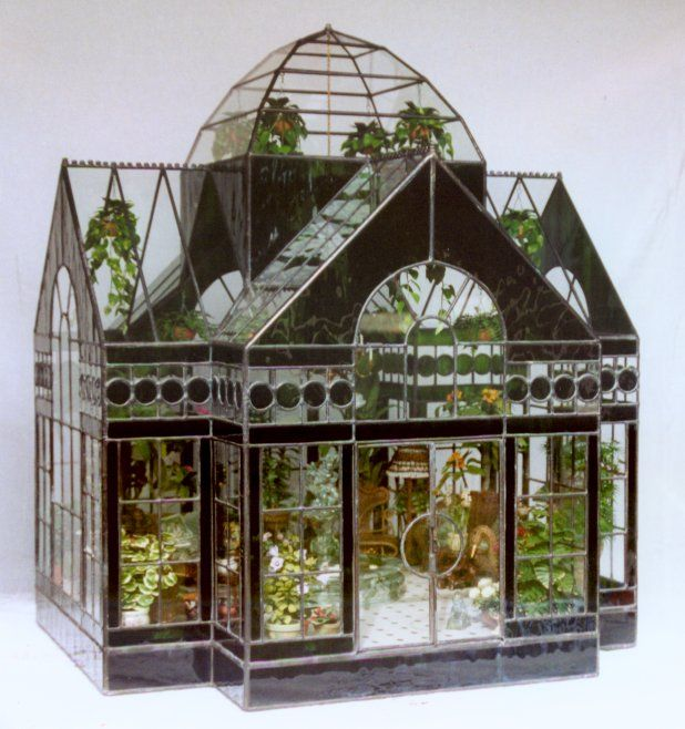 i love this one..the blog has others to check out too...The Great Conservatory ~ a gorgeous glass terrarium #miniaturerooms