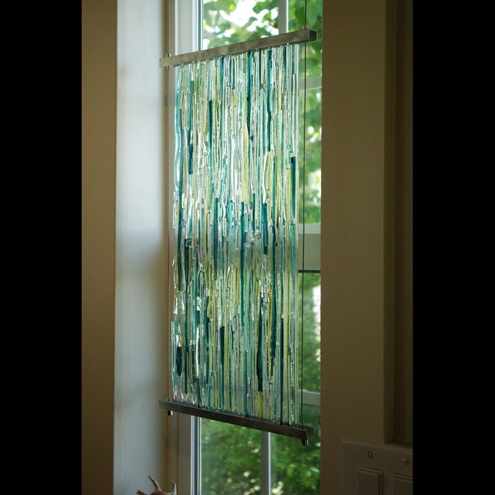 Textured Fused Glass Sculpture With Aluminum Frame And