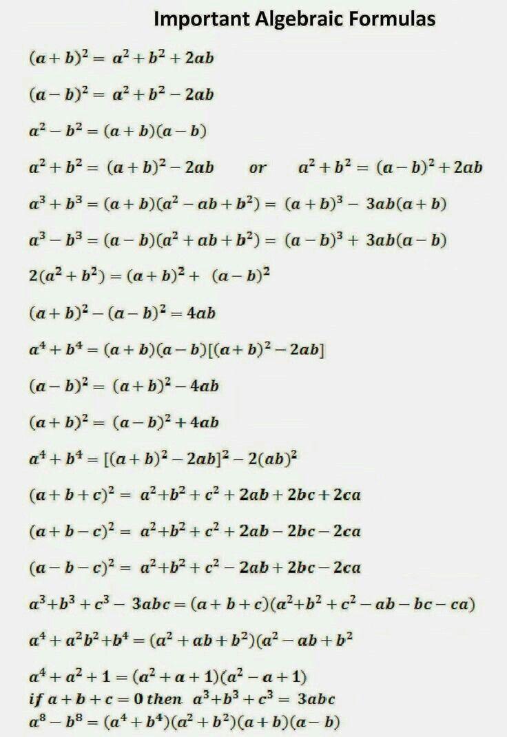 Important Algebraic Formulas