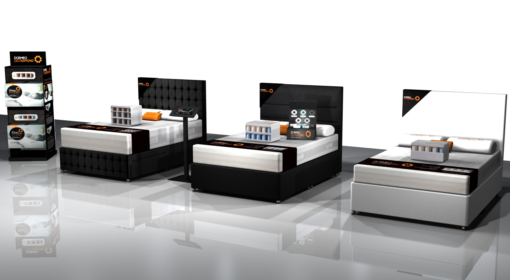 Designs for Octaspring's point of sale display in Sleep