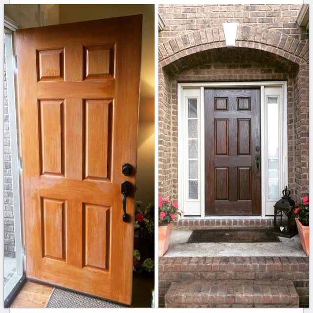 Minwax Gel Stain Door Makeover Theshabbybee The Shabby