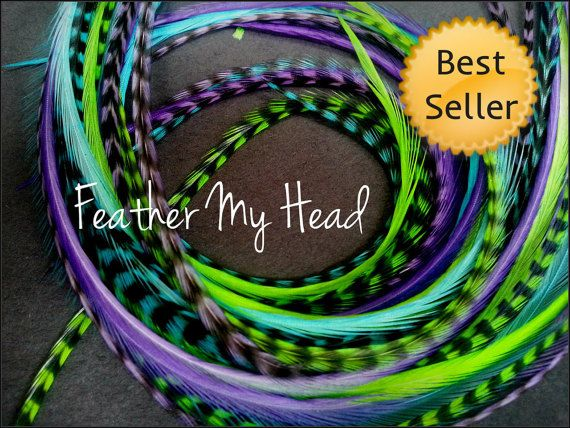 Feather hair extensions do it yourself diy kit 16 pc thin feather hair extensions do it yourself diy kit 16 pc thin feathers medium long 7 9 18 23cm purple blue green caribbean solutioingenieria Image collections