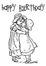 Little girl hugging and saying happy birthday my friend coloring anniversary greeting cards little girl hugging and saying happy birthday my friend m4hsunfo