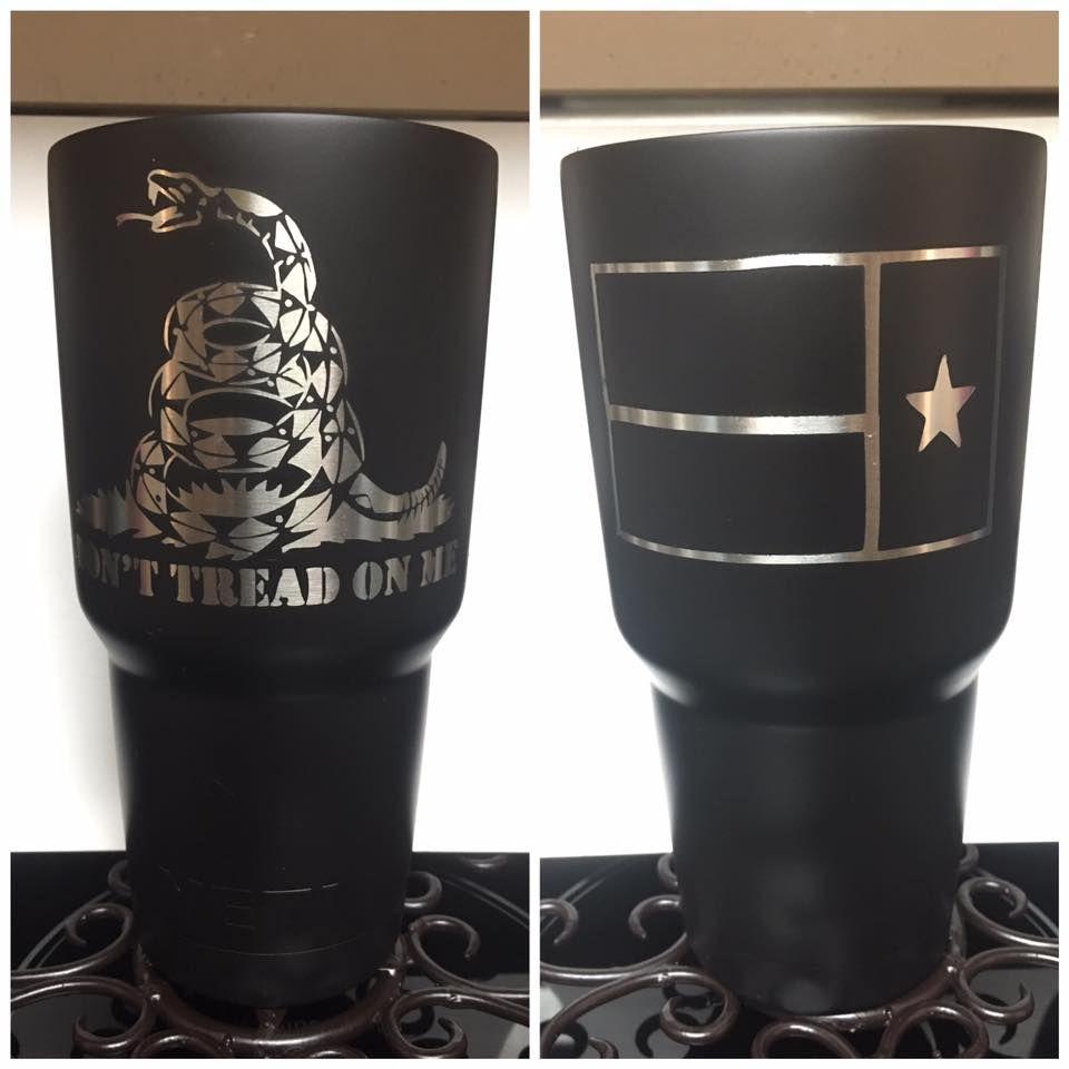Dont Tread On Me Custom Black Yeti With Texas Flag Yeti - Jeep vinyls for yeti cups
