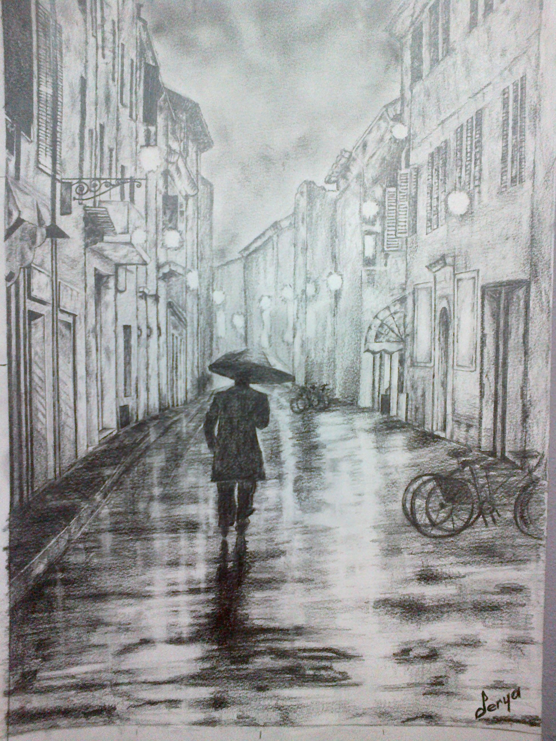 Rainy day street charcoal drawing