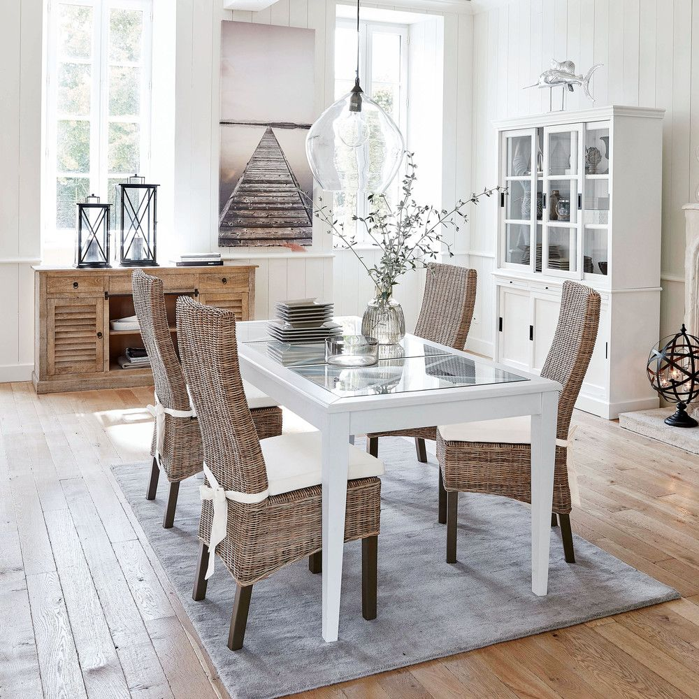 8 Seater White Pine And Tempered Glass Dining Table L 180 Cm