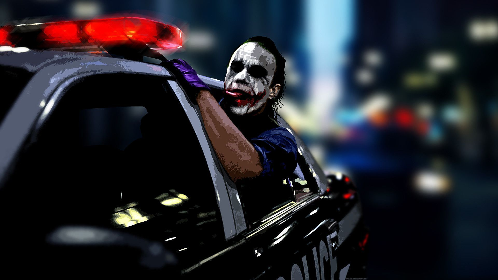 joker police car widescreen desktop mobile iphone android hd wallpaper and desktop