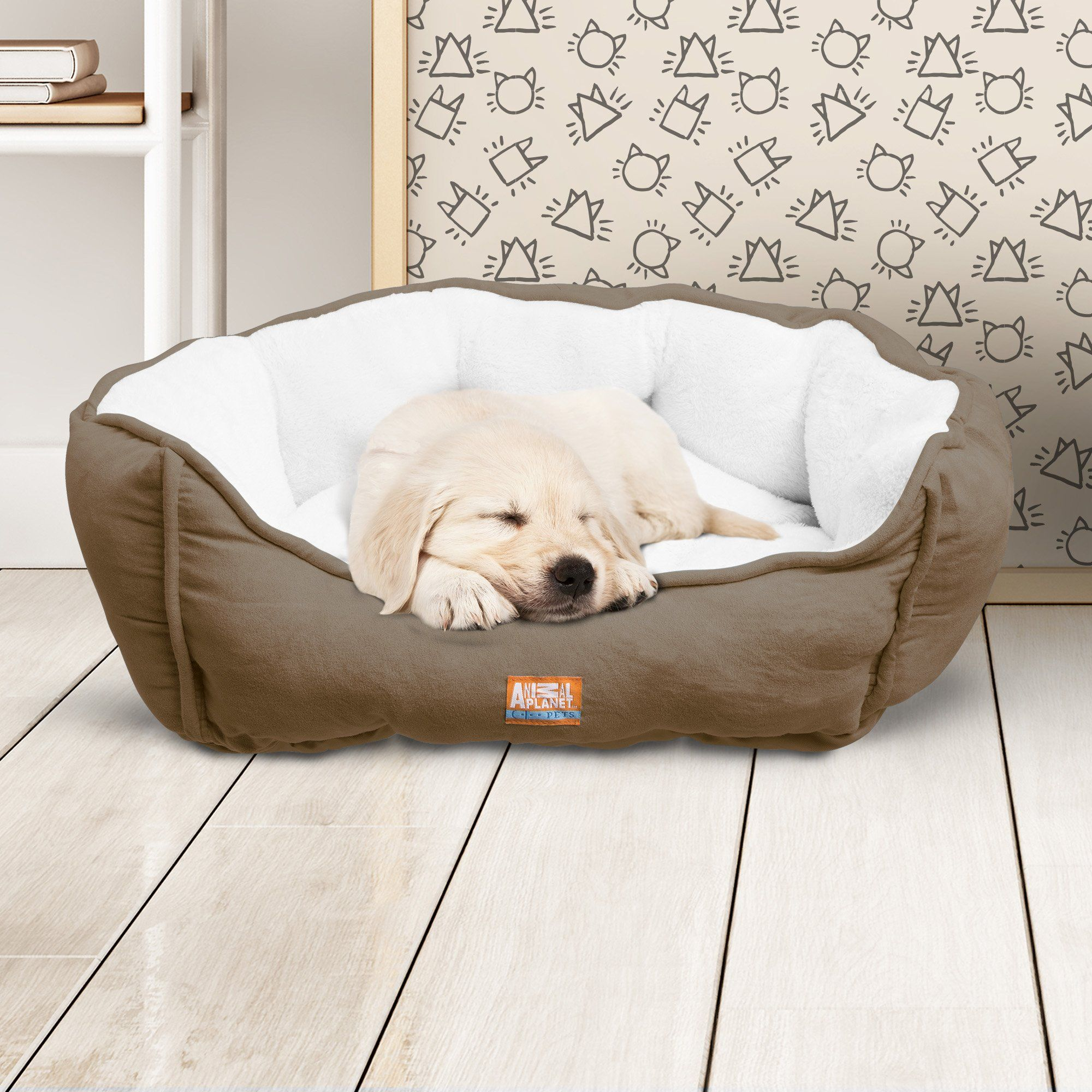 Animal Planet Round Plush Micro Suede And Sherpa Bolster Pet Bed Dogs And Cats Puppies Small And Toy Breeds Cuddly Warm Burrow Dog Pet Beds Dog Crate Dog Sofa