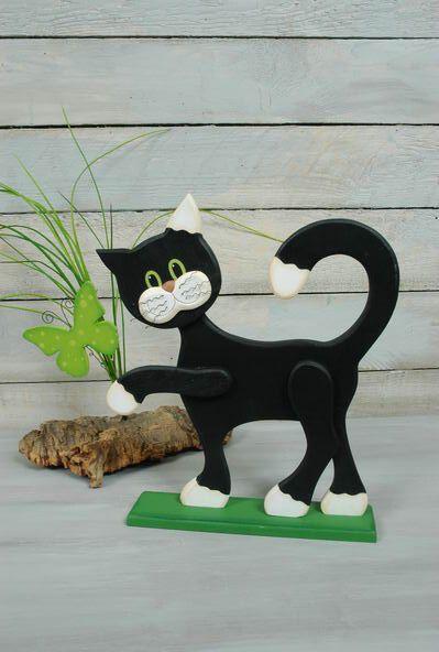 Katze Aufsteller Mit Schmetterling Grun Holz Muster Bastelabend Holz Kreativ