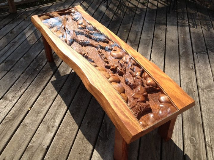 Hand Carved Coffee Table By Www.lazyriverstudio. This Table Is Made From  Mahogany. Large Floral Scene Is Hand Carved Into The Top. By Lazy River  Studio