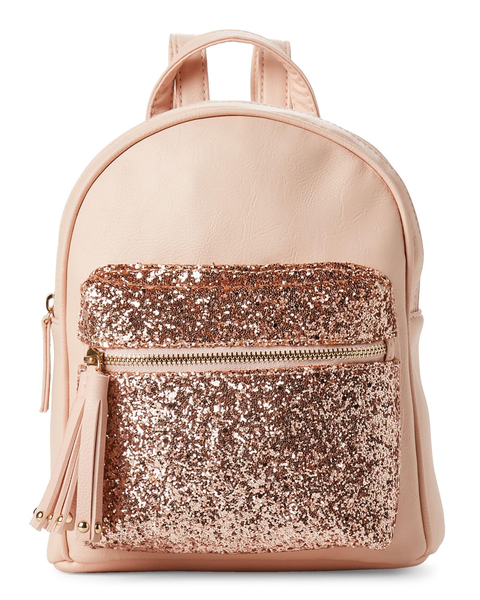 618bd4fc3f10d Omg! Accessories Rose Gold Tasseled Glitter Pocket Mini Backpack ...