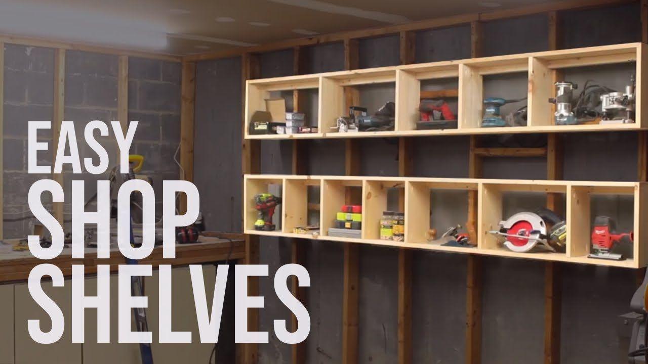 Floating garage shelves shop storage diy woodworking