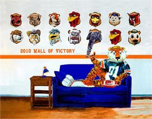 This piece of college sports art captures Aubie's trophy wall of defeated 2010 opponents. A terrific keepsake for all who will never forget ...