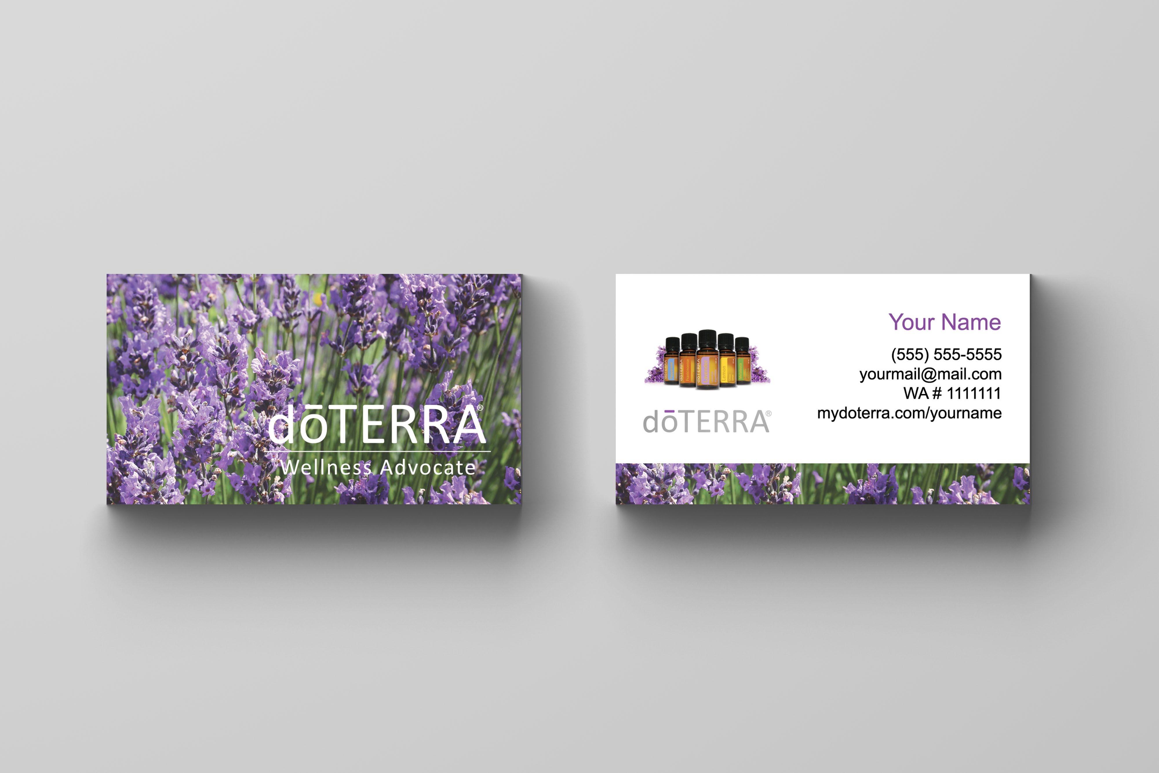 Doterra Business Card 03 Lavender Kakaodesigns Doterra Business Cards Doterra Business Cards Template Free Business Card Templates