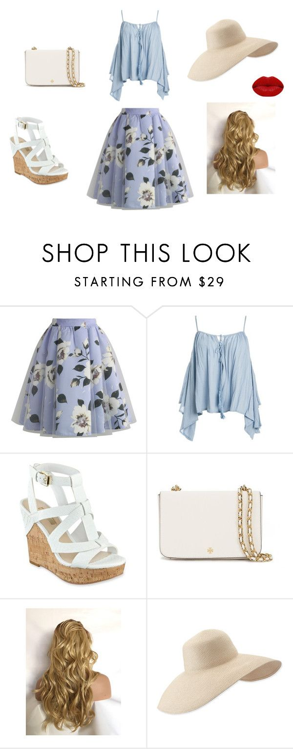 """""""Untitled #18"""" by sara-tadic-1 ❤ liked on Polyvore featuring Chicwish, Sans Souci, GUESS, Tory Burch, Eric Javits and Winky Lux"""