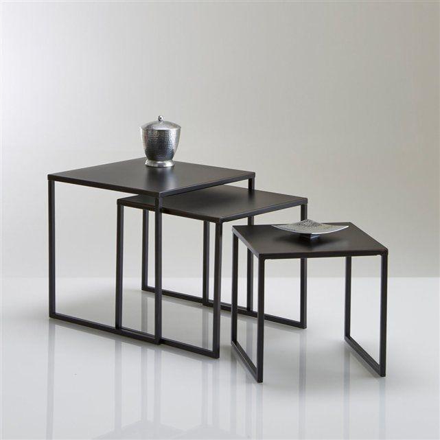 Tables gigogne acier laqu vieilli lot de 3 hiba la redoute interieurs id es rodier - Table de salon gigogne ...