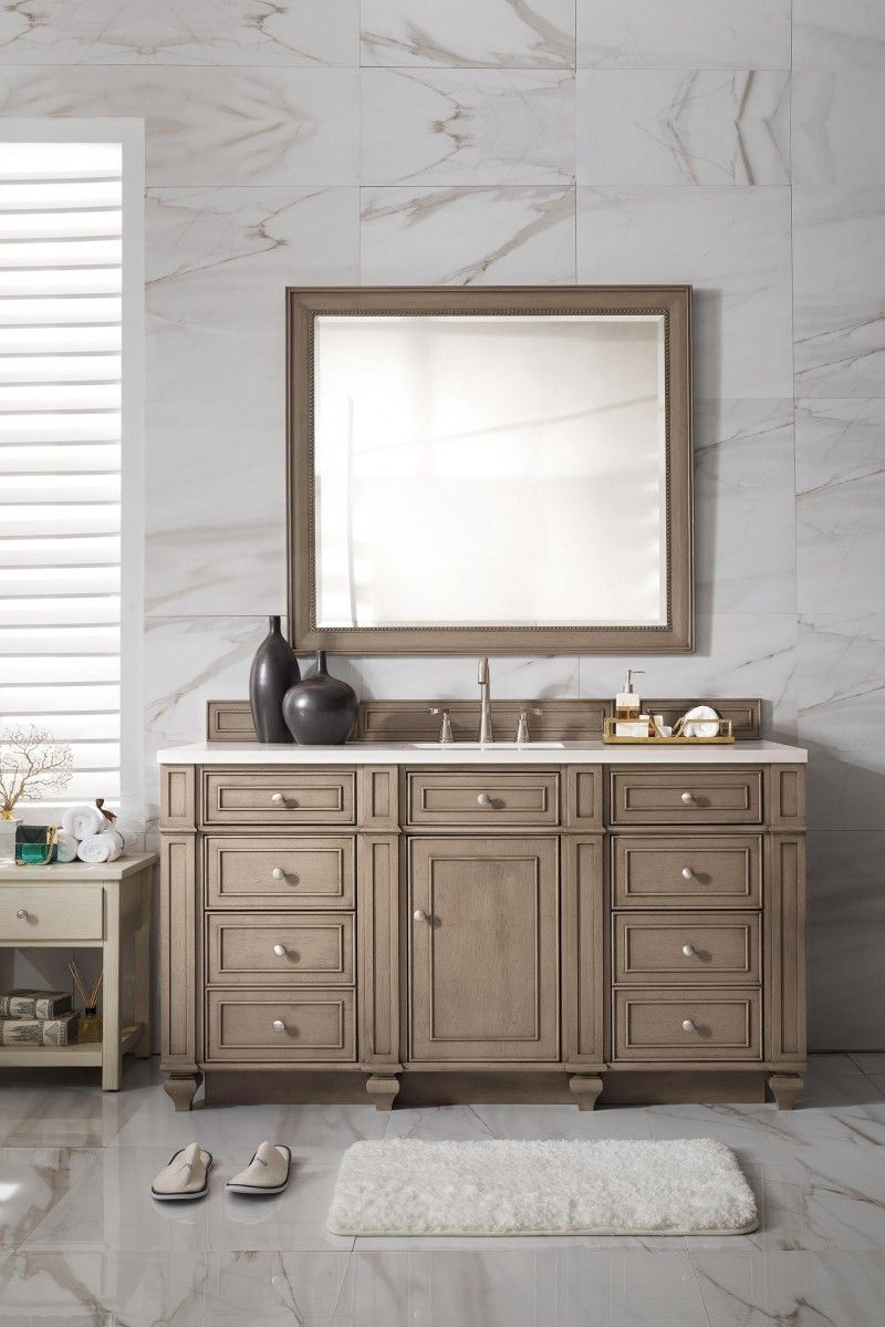 60 Inch Single Sink Bathroom Vanity Whitewashed Walnut Finish