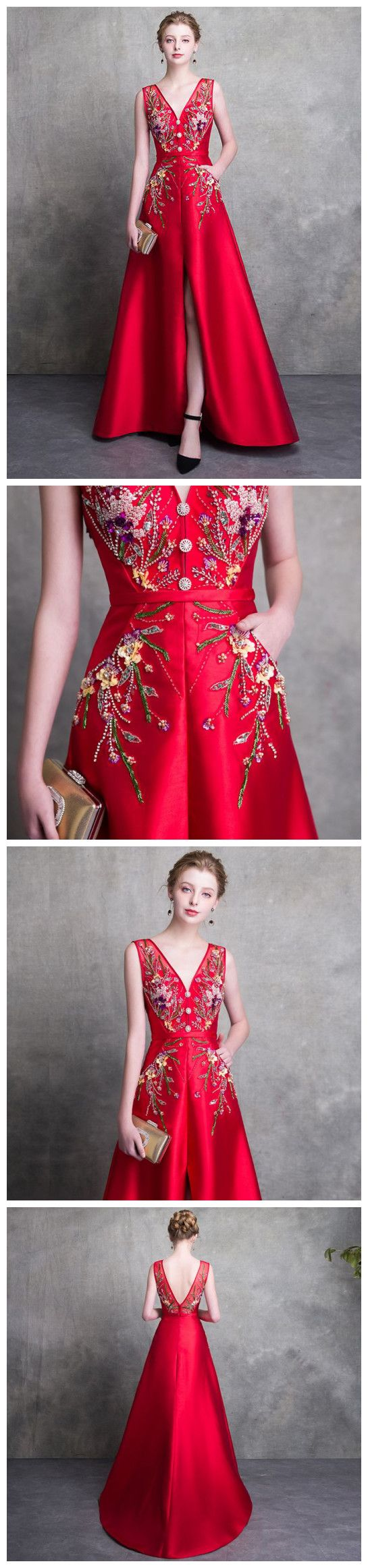 red prom dresses aline long v neck satin beading prom dress