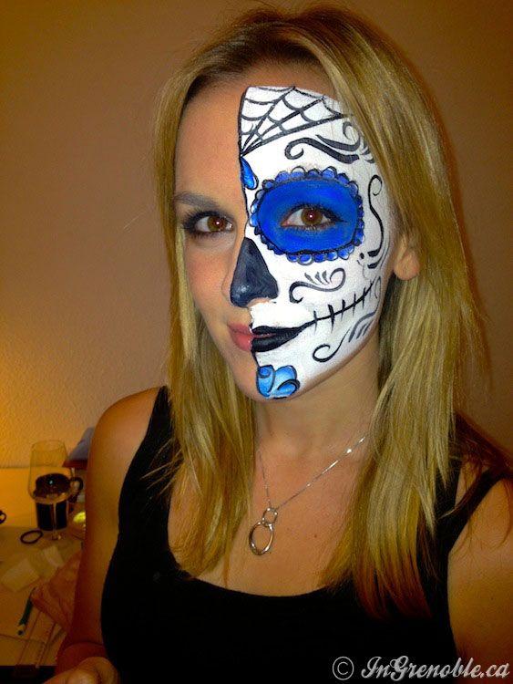 Halloween sugar skulls makeup maquillage mexicain pinterest maquillage mexicain id es de - Maquillage halloween mexicain ...