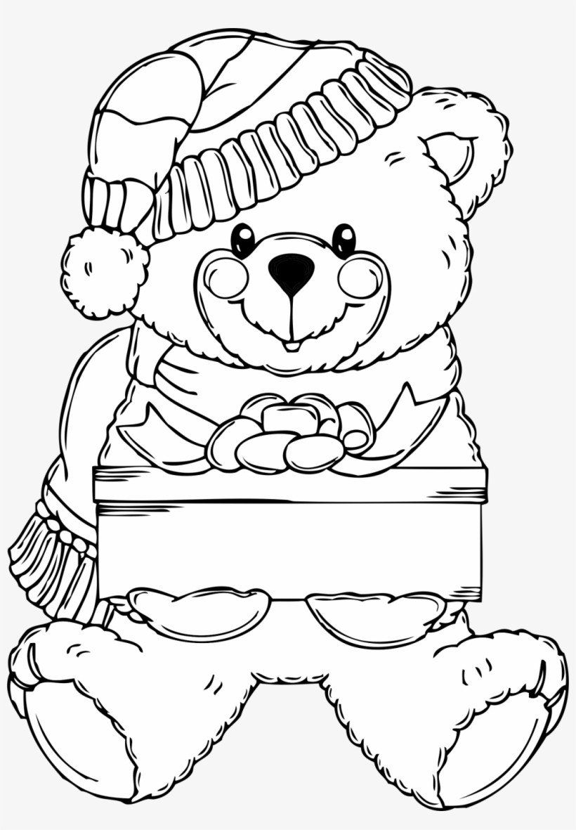 Teddy Bear Coloring Page Surprising Ideas Christmas Bear