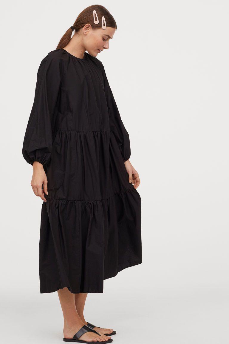 Balloon Sleeved Dress Black Ladies H M Black Long Sleeve Midi Dress Calf Length Dress Dresses With Sleeves [ 1152 x 768 Pixel ]