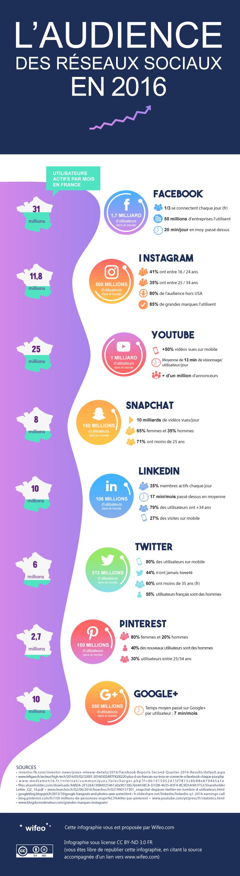 L'audience des réseaux sociaux en 2016