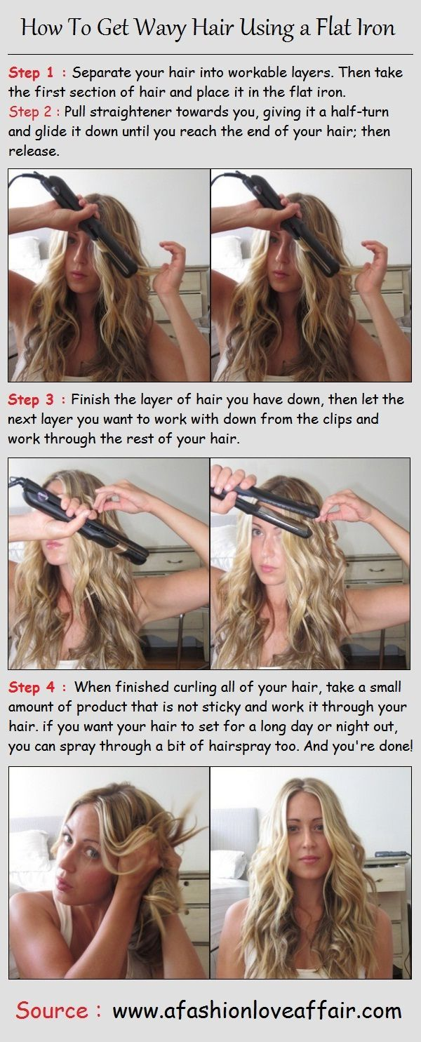 How To Get Wavy Hair Using A Flat Iron Pintutorials Wavy Hairstyles Tutorial Hair Styles Wavy Hair