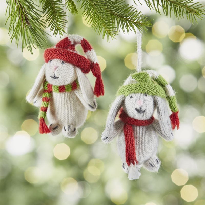Cozied up in striped hats and scarves, our charming bunny ornaments are hand knit of soft alpaca wool. Each handcrafted ornament is made exclusively for Crate and Barrel through an artisan group in Peru that empowers men and women to earn a fair and sustainable income, providing community development, education and healthcare.