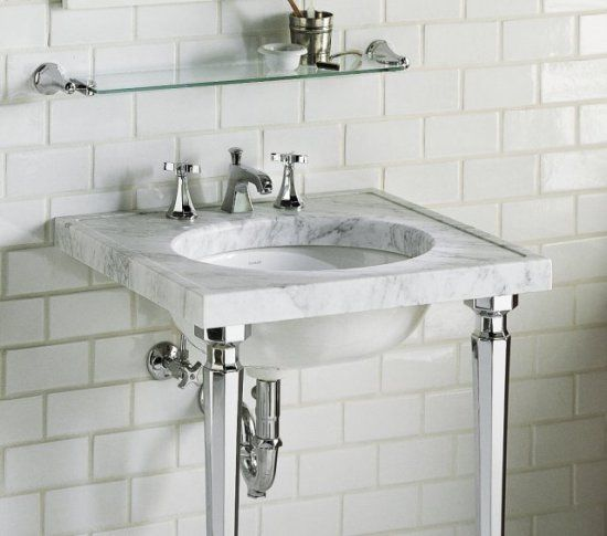 Kohler kathryn marble console top antique new bathroom for Marble top console sink