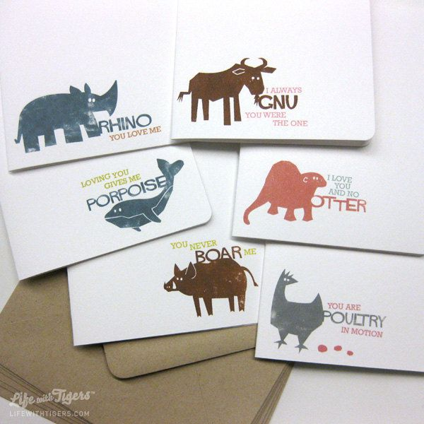 Animal Pun Greeting Card Box Set Two Set of 6 Cards Blank All – Animal Valentine Cards