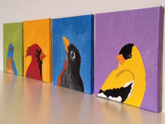 Bird canvas mini paintings