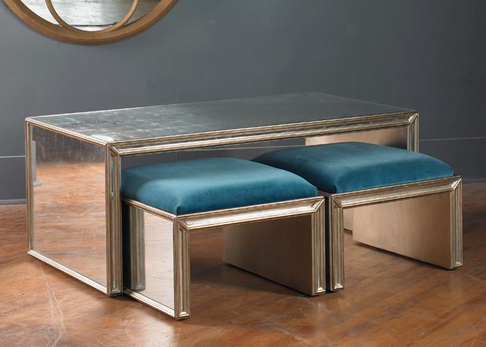 Julian Chichester Temple Small Bench Verre Eglomise Paneled Bench With An Upholstered Seat Sold Either In Coffee Table Rectangle Small Bench Seating