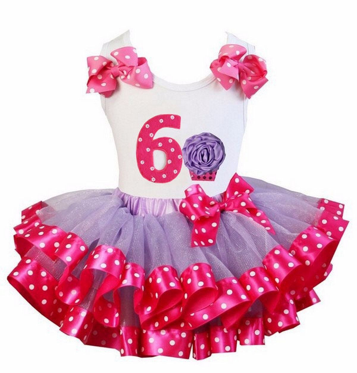 Kirei Sui Hot Pink Polka Dots Satin Trimmed Tutu 4th Rosette Cupcake Tank Top Set