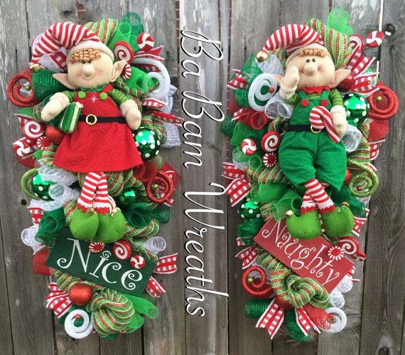 Double Doors Christmas Christmas Wreath Christmas by BaBamWreaths
