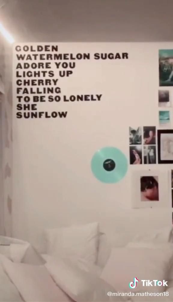 Wall Filled With Harry Styles Song Names Tik Tok Video Dorm Room Inspiration Retro Room One Direction Bedroom