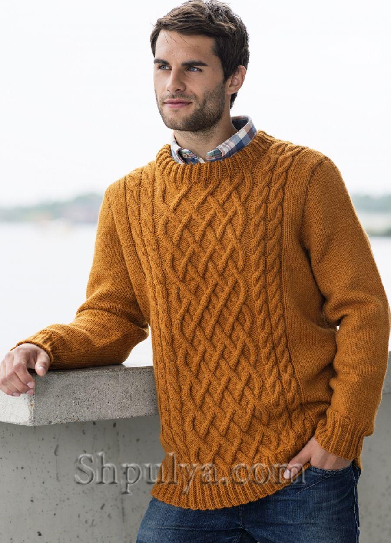 Вязаный мужской пуловер с аранами   Мужские свитера,кардиганы и ...