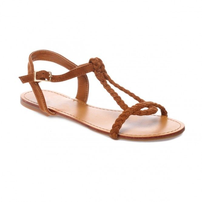 La Modeuse Sandales camel à brides tressées Camel - Chaussures Sandale Femme