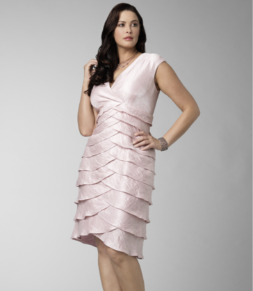 Jessica Howard Plus Size Shimmer Shutter Pleat Dress in light pink ...