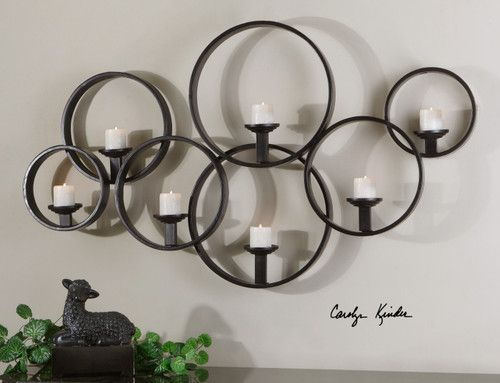 Contemporary Candle Wall Sconce Modern Large Black Metal Circles