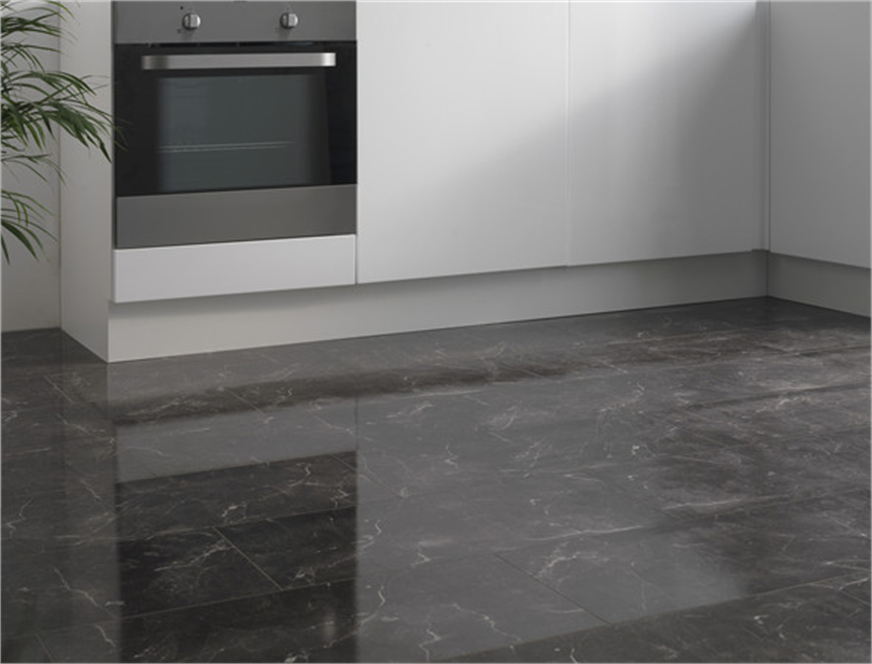 Westco 8mm bottocino black high gloss tile effect laminate for Black and white laminate floor tiles