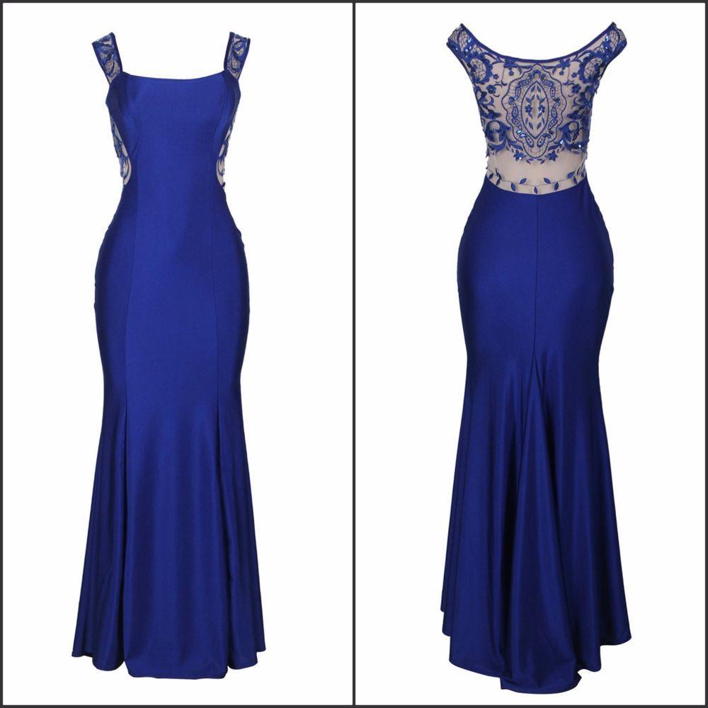 Maxi mermaid elegant embroidery blue overlay sleeveless formal