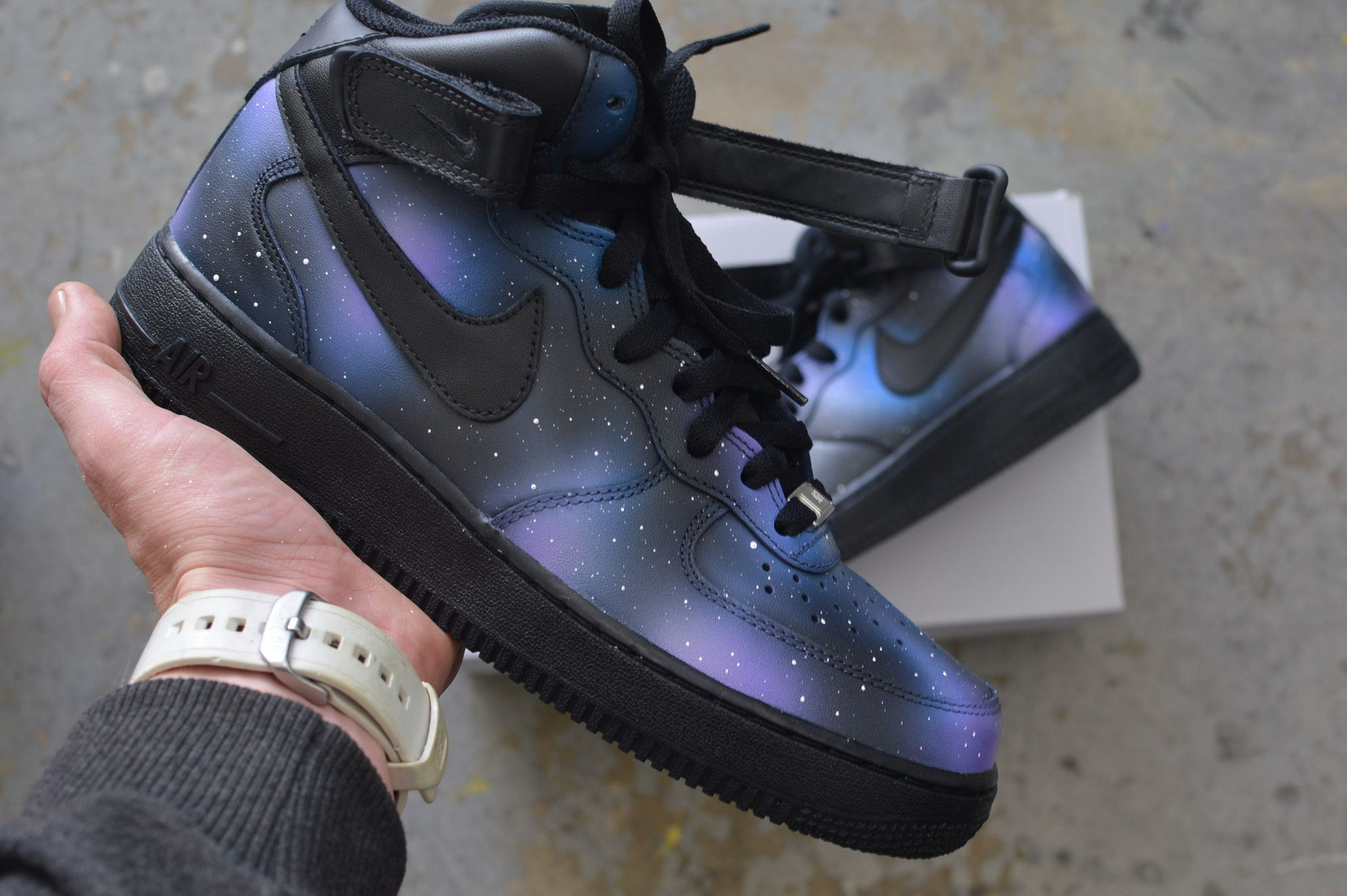 finest selection c37a1 2563d These Nike AF1 Mids have the Galaxy Design. This order is customizable as I  can paint this one-of-a-kind, original design on any Nikes.
