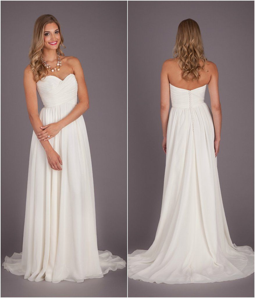 A Simple Chiffon Bridal Gown With A Ruched Bodice And Strapless, Sweetheart  Neckline. |