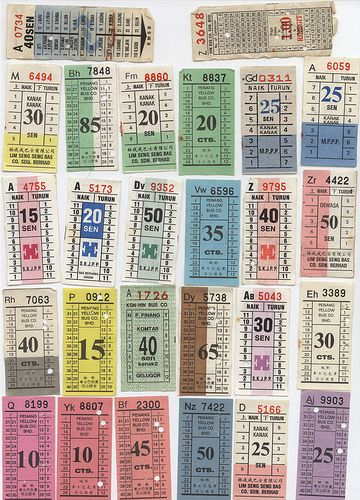 Old Penang Bus Tickets Old Penang Bus tickets, Ticket, Ticket