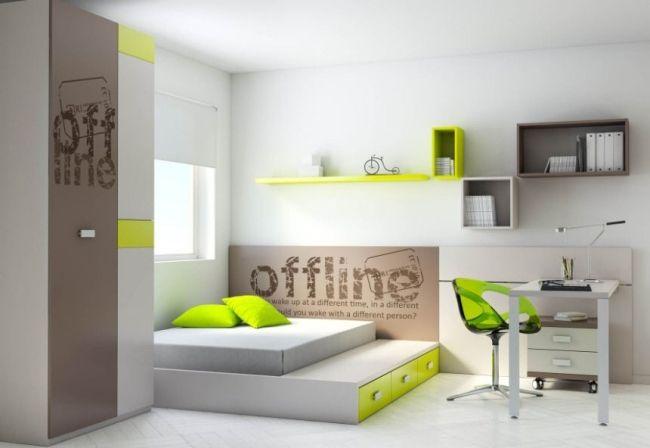 Ros Teenager Zimmer Bett G Stebett Akzente Limettengr N Kinderzimmer Kinderzimmer Kinder
