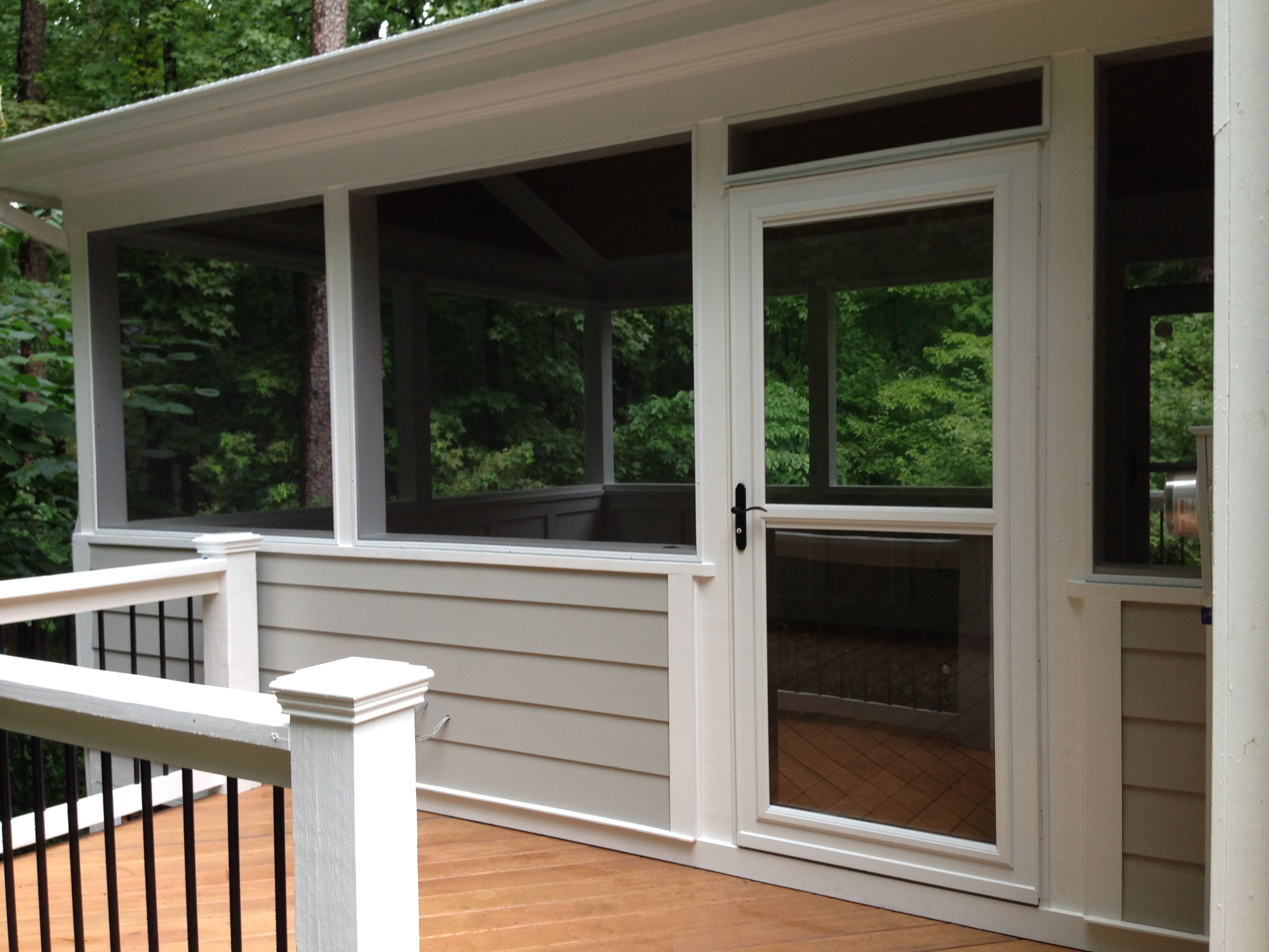 Screen porch with side deck and larson storm door for Retractable screen porch systems